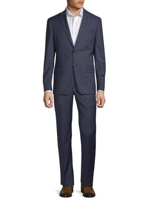 John Varvatos - Blue Striped Slim Wool Suit for Men - Lyst