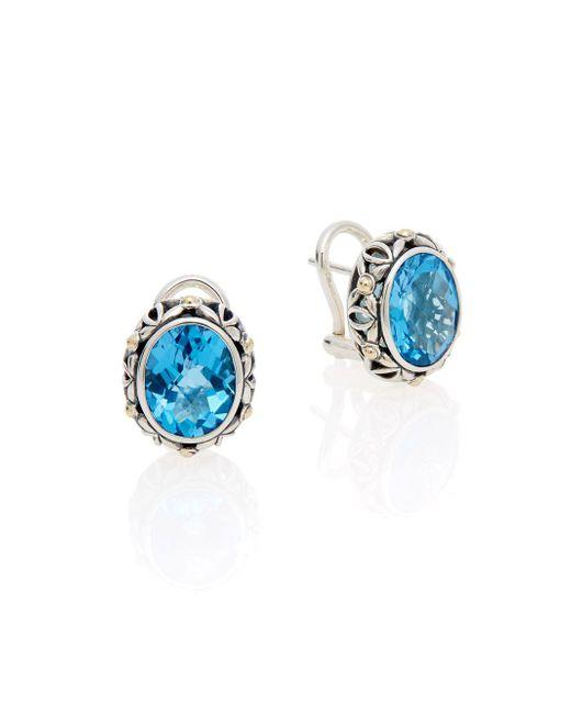 Effy - Metallic Blue Topaz, Sterling Silver & 18k Yellow Gold Earrings - Lyst