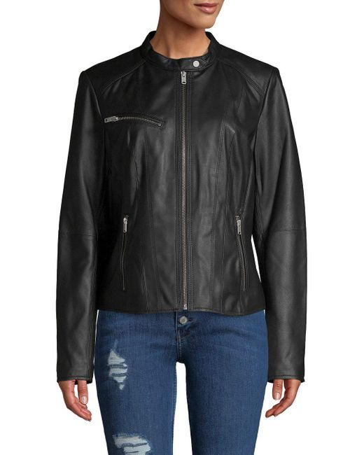 Marc New York - Black Classic Leather Motorcycle Jacket - Lyst
