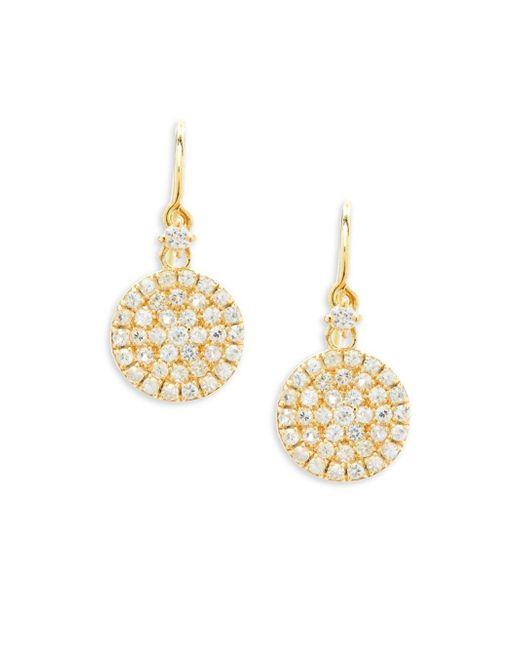 Suzanne Kalan - Metallic White Sapphire And 14k Yellow Gold Circle Drop Earrings - Lyst