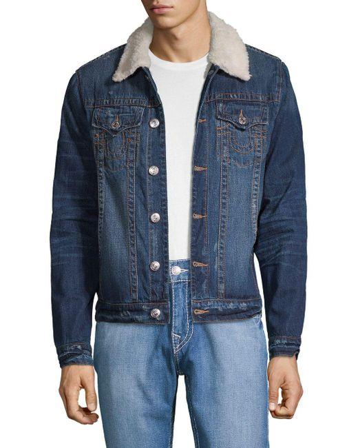 65a57f1ab True Religion - Blue Faux Shearling-trimmed Distressed Denim Jacket for Men  - Lyst ...