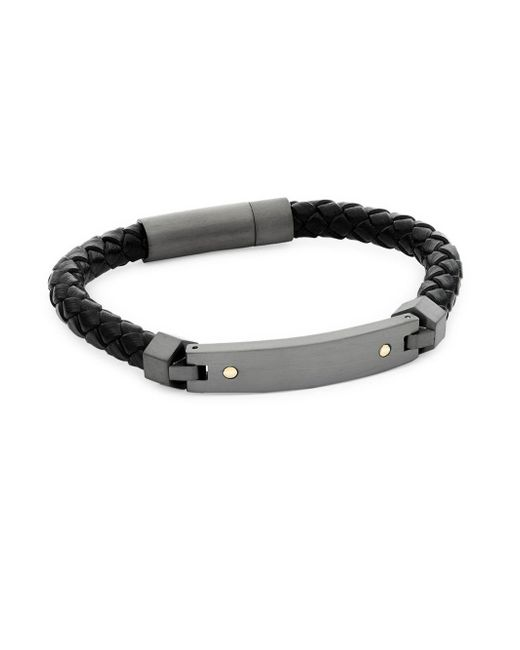 Saks Fifth Avenue - Gray Stainless Steel, 14k Gold And Leather Bracelet - Lyst