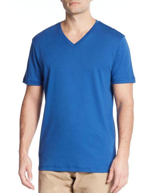 Michael Kors | Blue Liquid Interlock Jersey V-neck Tee for Men | Lyst