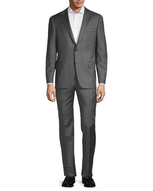 Hickey Freeman Gray Classic Fit Milburn Iim Series Pinstripe Wool Suit for men