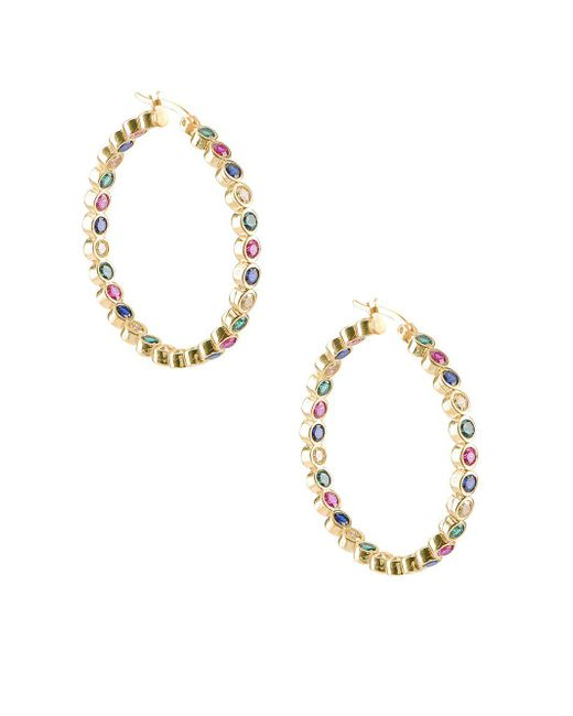 Gabi Rielle - Metallic Multi-colored Crystal Hoop Earrings - Lyst