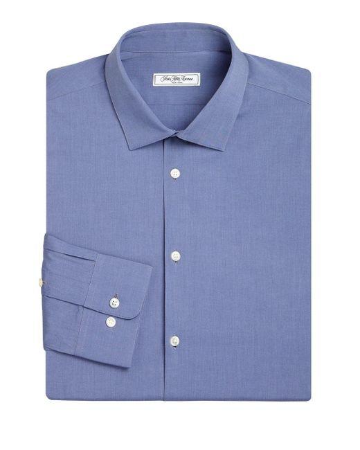 Saks Fifth Avenue - Blue Modern Slim-fit Stretch Poplin Dress Shirt for Men - Lyst