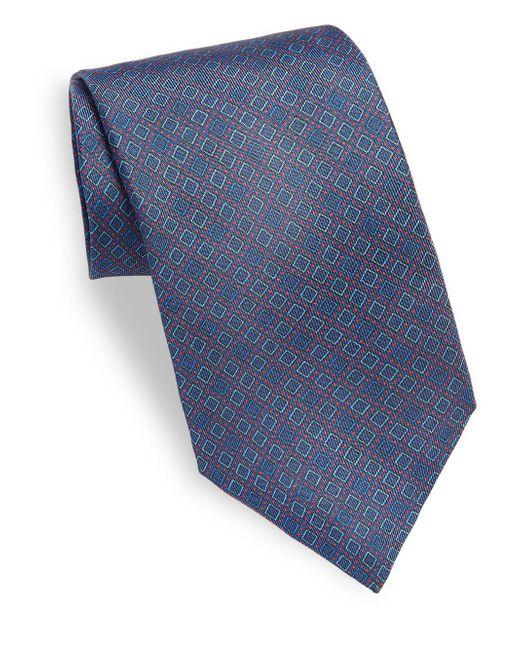 Saks Fifth Avenue | Blue Box Printed Silk Tie for Men | Lyst