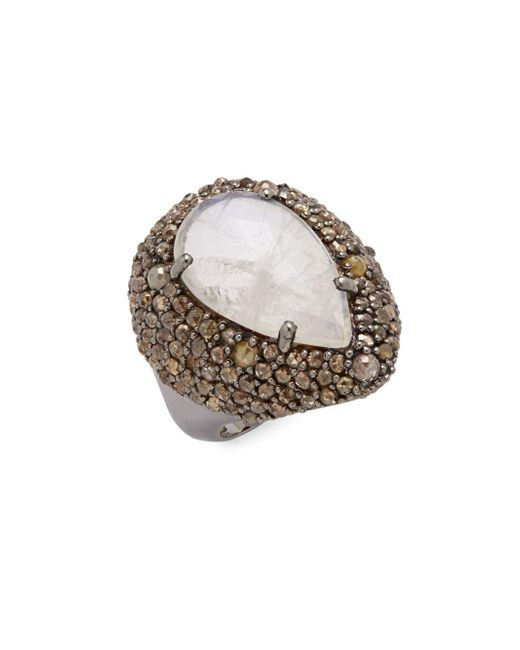Bavna   Metallic Diamond, Moonstone & Sterling Silver Ring   Lyst