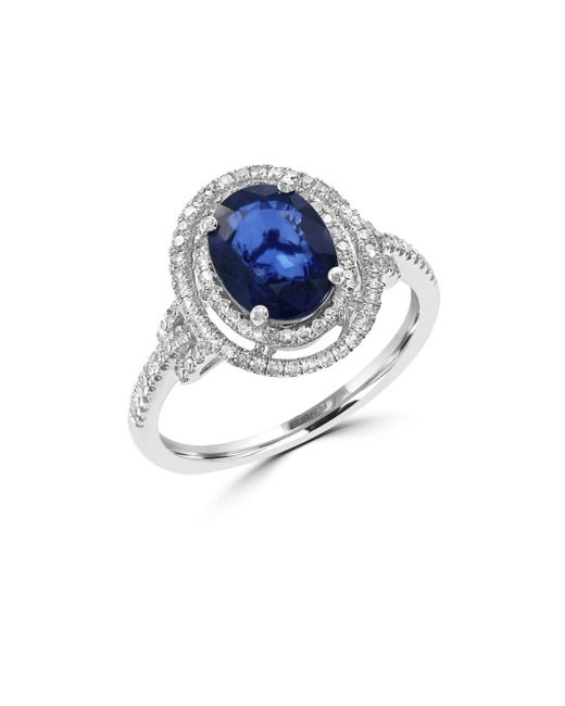Effy - Metallic 14k White Gold Sapphire And Diamond Ring - Lyst