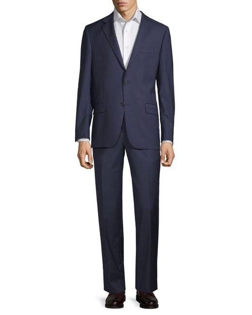Hickey Freeman Blue Classic Fit Stripe Wool Suit for men