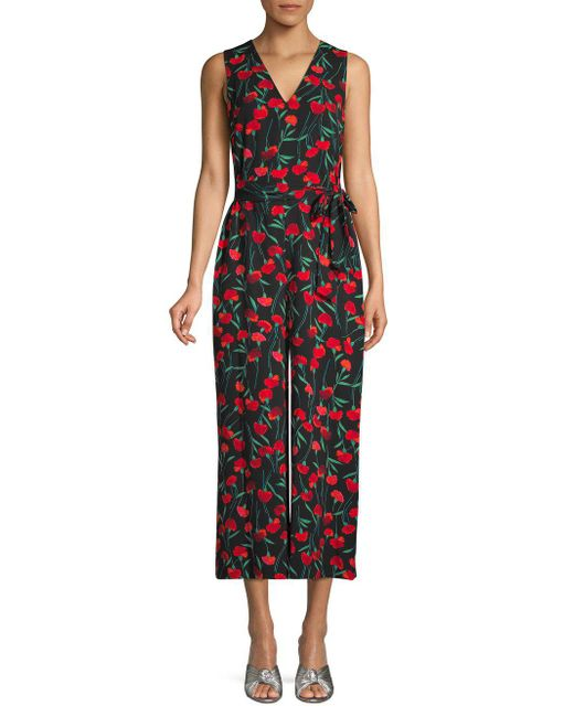 4cc26ac530 Karl Lagerfeld Floral Cropped Jumpsuit in Black - Save 16% - Lyst