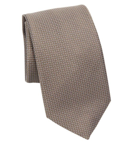 Saks Fifth Avenue - Brown Collection Chevron Silk Tie for Men - Lyst