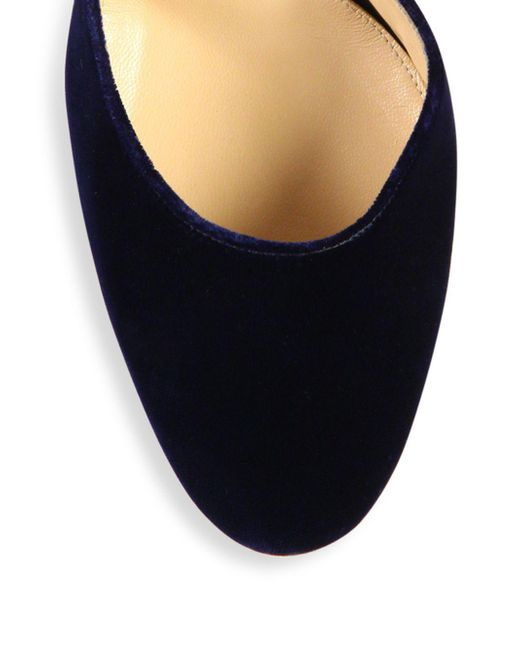 0d66f41918b9 ... Gianvito Rossi - Blue Velvet Ankle-strap Block-heel Pumps - Lyst ...