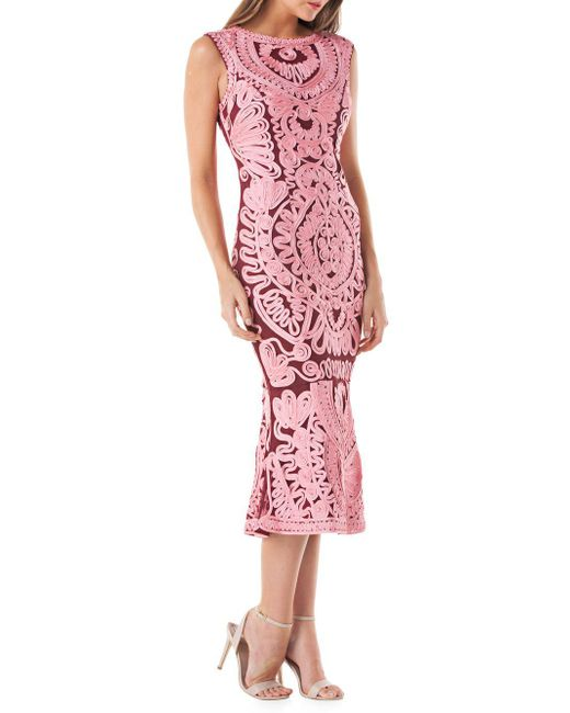 JS Collections - Pink Soutache Mesh Dress - Lyst