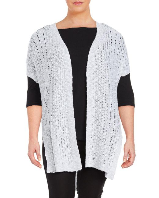 Vince Camuto - White Plus Long Open-front Cardigan - Lyst
