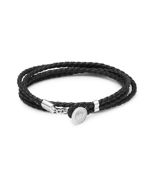 Tateossian - Black Sterling Silver And Leather Double Wrap Bracelet - Lyst