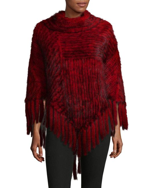 Belle Fare - Red Knitted Mink Fur Fringe Poncho - Lyst