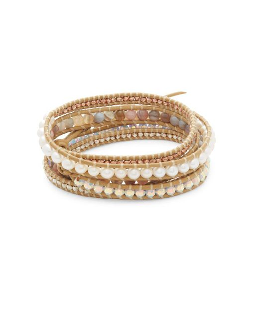 Chan Luu | Multicolor Grey Banded Agate, Hematine, Crystal & Leather Beaded Wrap Bracelet | Lyst