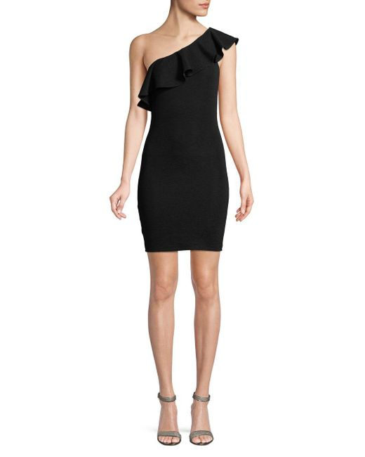BCBGeneration - Black One-shoulder Ruffle Jacquard Dress - Lyst