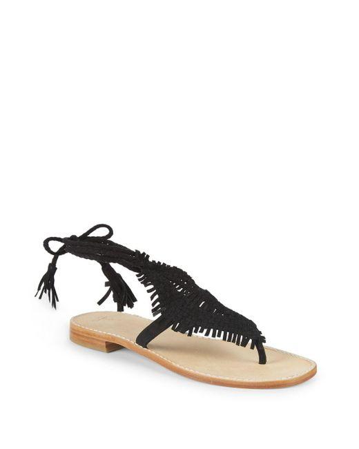 Joie - Black Kacia Leather Ankle Strap Sandals - Lyst