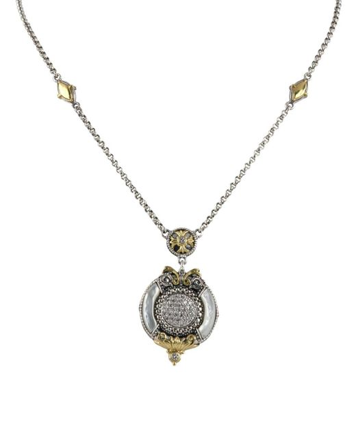 Konstantino - Metallic Asteri White Diamond, Mother-of-pearl And Sterling Silver Pendant Necklace - Lyst