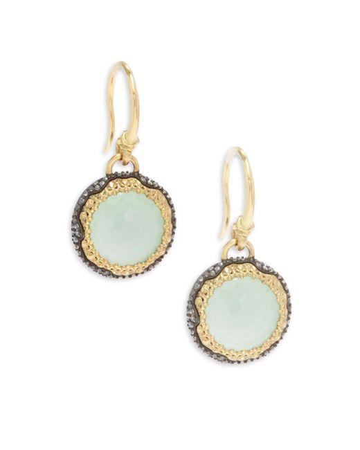 Armenta - Metallic Old World White Diamond, Chrysoprase, Moon Quartz & 18k Goldplated Sterling Silver Drop Earrings - Lyst