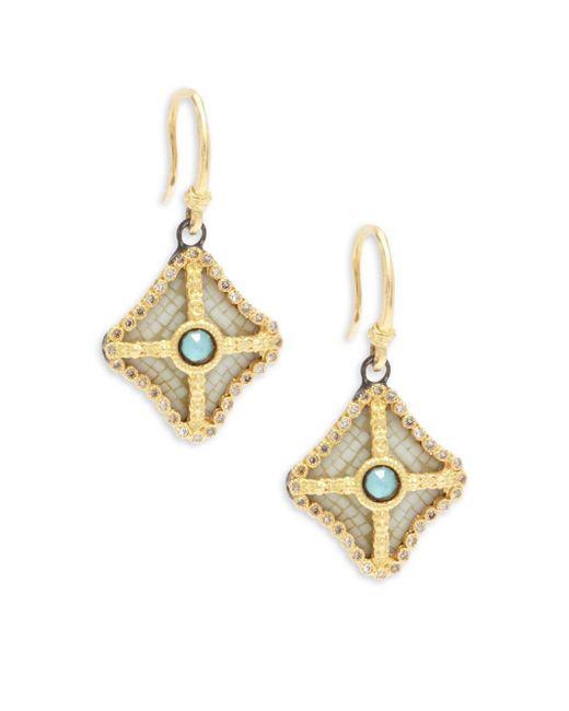 Armenta - Metallic Old World Champagne Diamond, Blue Turquoise, Rainbow Moonstone & 18k Goldplated Sterling Silver Drop Earrings - Lyst