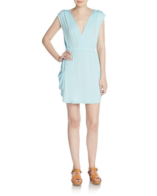 Michael Stars | Blue Surplice Sheath Dress | Lyst
