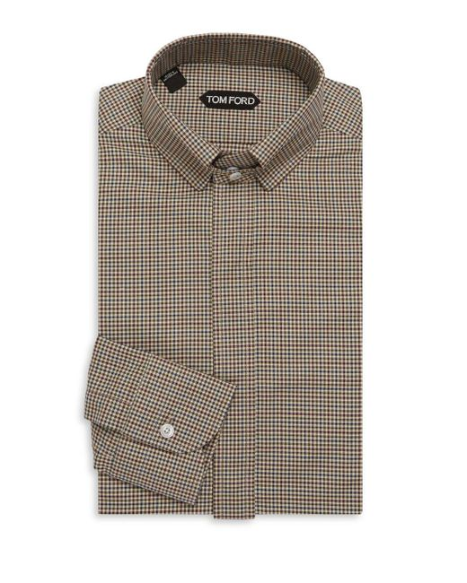 Tom Ford | Brown Concealed Cotton Dress Shirt for Men | Lyst
