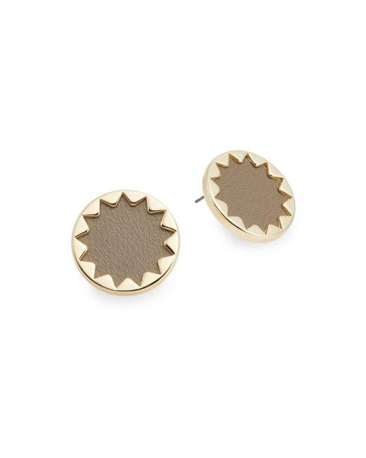 House of Harlow 1960 | Metallic Immediates Leather Sunburst Button Earrings/khaki | Lyst