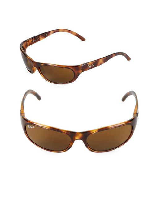 Ray-Ban - Brown 60mm Oval Wrap Sunglasses - Lyst