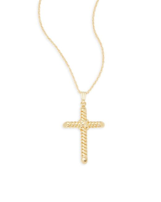 Saks Fifth Avenue - Metallic 14k Yellow Gold Cross Pendant Necklace - Lyst