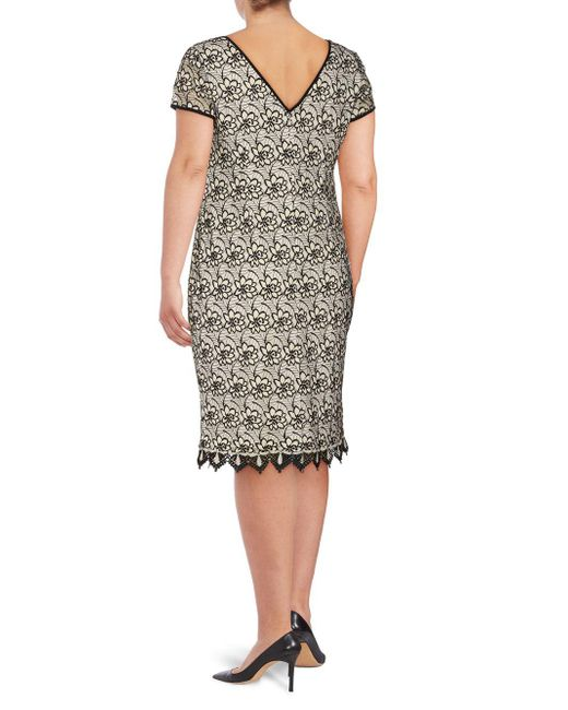 7c2a763a705 ... Adrianna Papell - White Plus Floral Lace Sheath Dress - Lyst