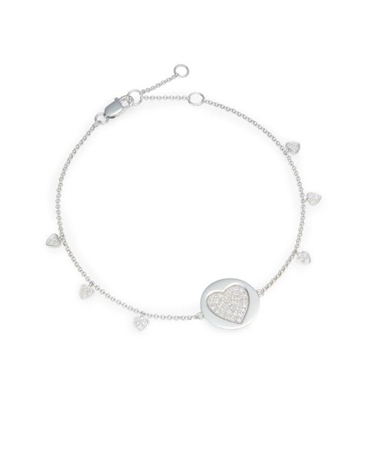 Effy - Final Call Diamond & 14K White Gold Heart Charm Bracelet - Lyst