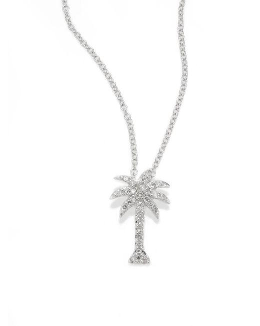 Effy - Diamond & 14k White Gold Palm Tree Pendant Necklace - Lyst