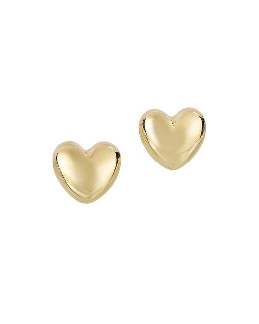 Saks Fifth Avenue | Metallic 14k Yellow Gold Heart Earrings | Lyst