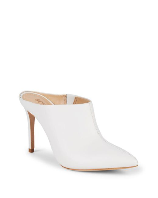 e5b8df271127 Lyst - Schutz Woman Leather Mules White in White - Save 5%