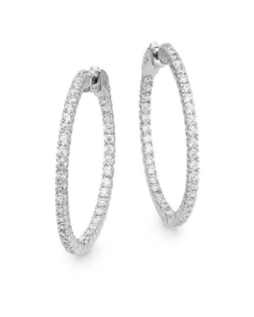 """Saks Fifth Avenue - Metallic Pavé Hoop Earrings/1.25"""" - Lyst"""