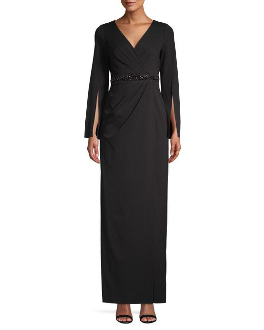 Adrianna Papell - Black Split Sleeve Embellished Long Dress - Lyst