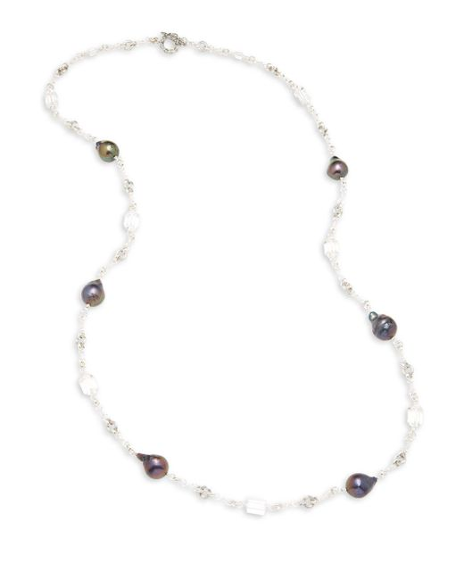 Stephen Dweck - Metallic Cyprus 23mm Peacock Baroque Pearl, Crystal Quartz & Sterling Silver Long Chain Necklace - Lyst