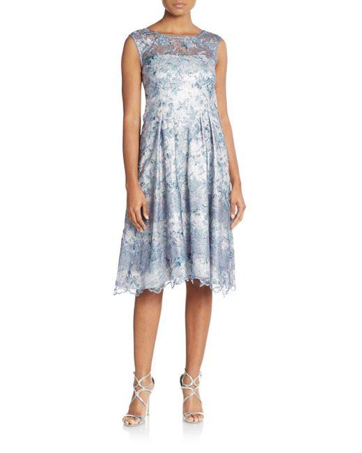 Kay Unger   Blue Embroidered & Embellished Illusion-top Dress   Lyst