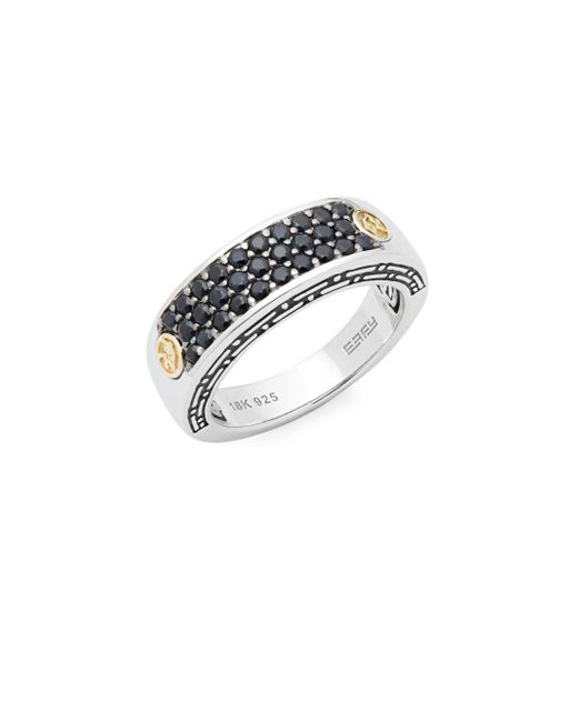 Effy - Metallic Black Sapphire, 18k Yellow Gold And Sterling Silver Pavé Ring - Lyst