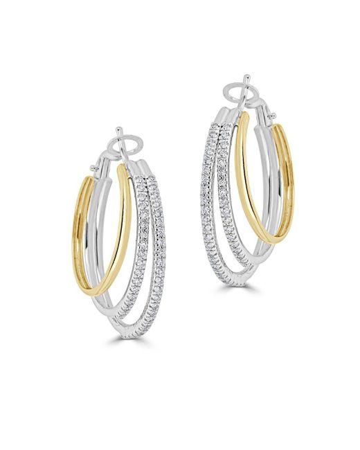 Saks Fifth Avenue - Metallic Diamond Two-tone Loop Earrings - Lyst
