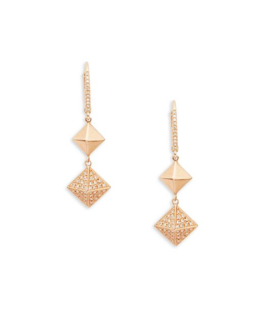EF Collection - Metallic 14k Rose Gold Pyramid Dangle & Drop Earrings - Lyst