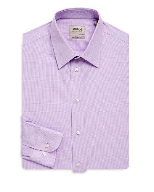 Armani | Purple Modern-fit Cotton Dress Shirt for Men | Lyst