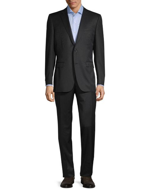 Canali Gray Slim-fit Textured Wool Suit for men