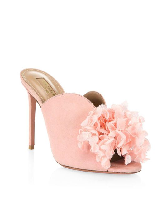 Aquazzura - Lily Of The Valley 105 Mule Shoes In Jaipur Pink Suede - Lyst