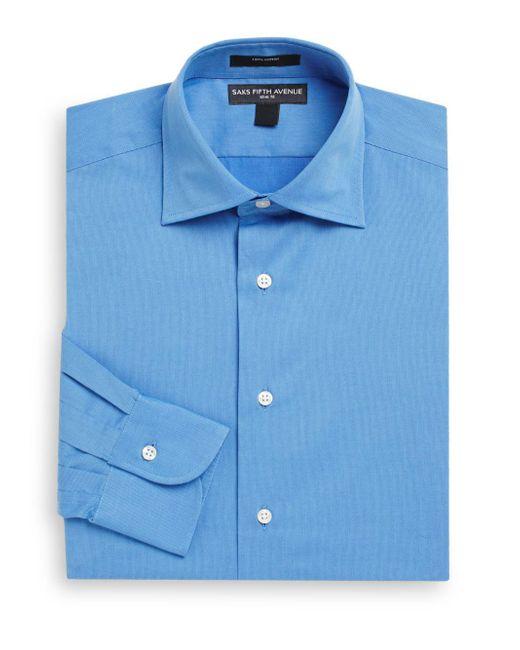 Saks Fifth Avenue - Blue Slim-fit Cotton Pique Dress Shirt for Men - Lyst