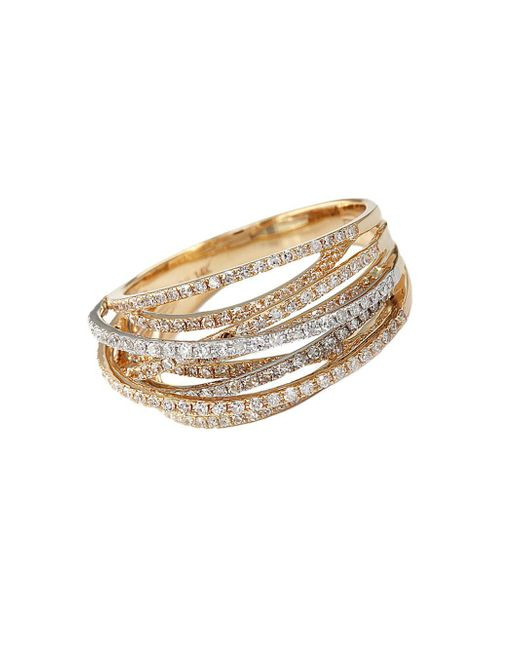 Effy - Metallic Diamond 14k White And Yellow Gold Ring, 0.67 Tcw - Lyst
