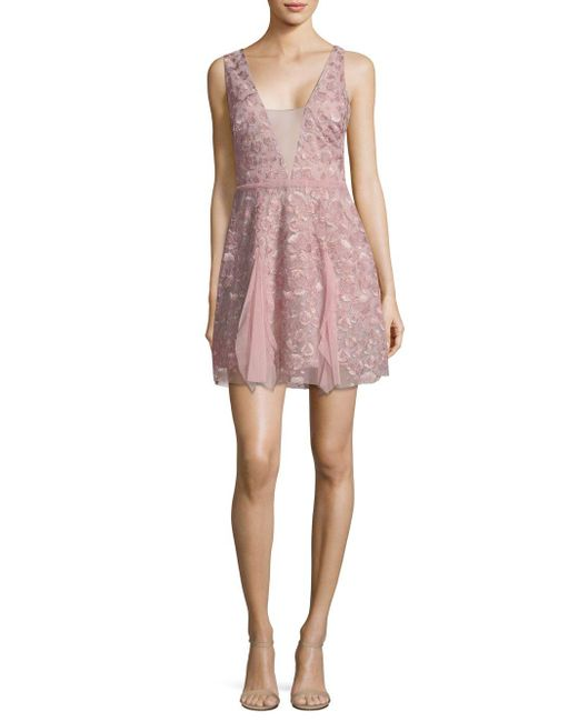 BCBGMAXAZRIA - Pink V-neck Lace Fit-&-flare Dress - Lyst